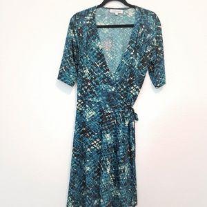 Shabby Apple Mid Wrap Dress Blue/Green